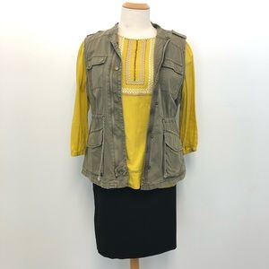 Boden 16 Yellow Bohemian Top Blouse Embroidered